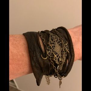 Jewelry - Leather and gold/brass adjustable bracelet